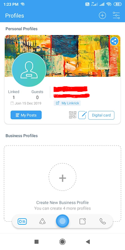 Create new business profile